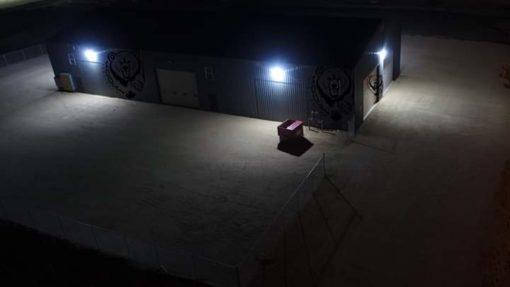 100 watt led wall pack aerial side view